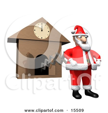 Santa Claus In His Red And White Uniform, Popping Out Of A Cuckoo Clock Right At Midnight, Ready To Get To Work And Deliver Christmas Gifts Clipart Illustration Image by 3poD