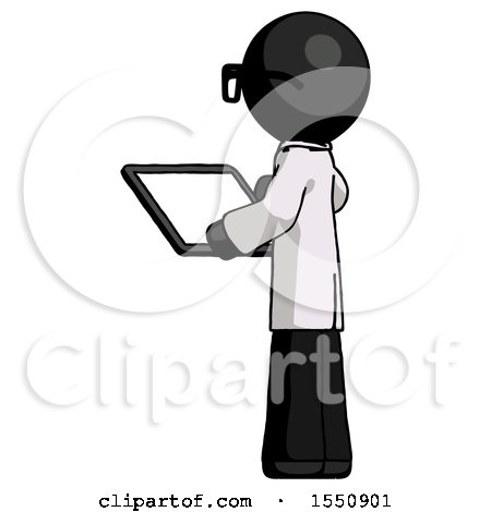 Black Doctor Scientist Man Looking at Tablet Device Computer with Back to Viewer by Leo Blanchette