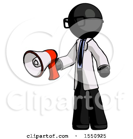Black Doctor Scientist Man Holding Megaphone Bullhorn Facing Right by Leo Blanchette