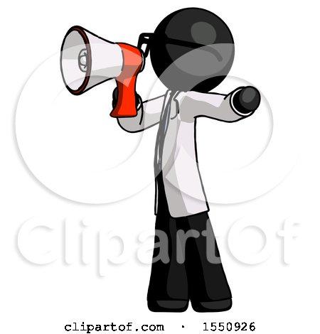 Black Doctor Scientist Man Shouting into Megaphone Bullhorn Facing Left by Leo Blanchette