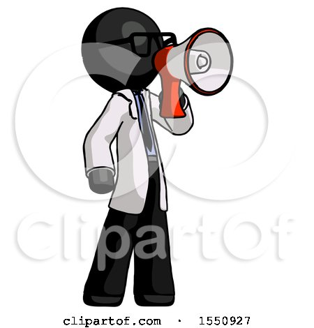 Black Doctor Scientist Man Shouting into Megaphone Bullhorn Facing Right by Leo Blanchette