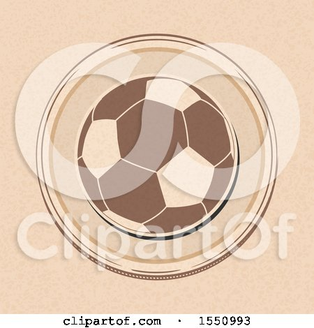 Clipart of a Soccer Ball in a Border on Brown Paper - Royalty Free Vector Illustration by elaineitalia