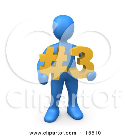 Blue Person Holding A Number Three Sign Clipart Illustration Image by 3poD