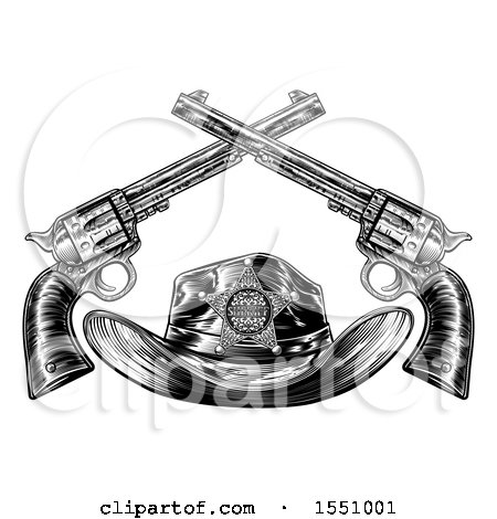 Clipart of a Cowboy Sheriff Hat with Crossed Guns in Black and White - Royalty Free Vector Illustration by AtStockIllustration