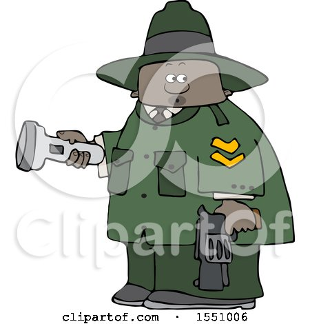 Clipart of a Cartoon Black Male Ranger Holding a Flashlight and Firearm - Royalty Free Vector Illustration by djart