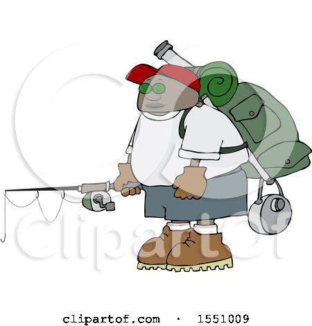 Clipart of a Cartoon Black Man with Camping and Fishing Gear - Royalty Free Vector Illustration by djart