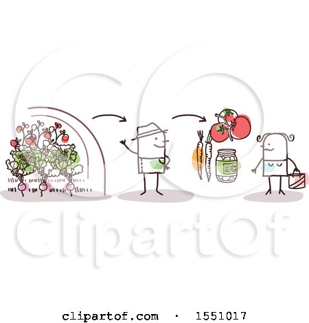 Clipart of a Stick Man Farmer Selling Produce Direct to a Consumer - Royalty Free Vector Illustration by NL shop