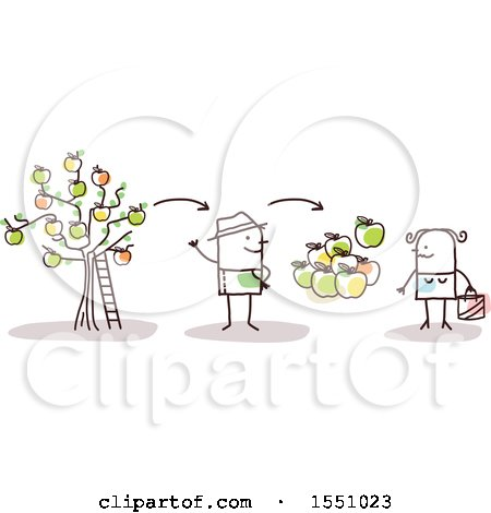 Clipart of a Stick Man Farmer Selling Apples Direct to a Consumer - Royalty Free Vector Illustration by NL shop