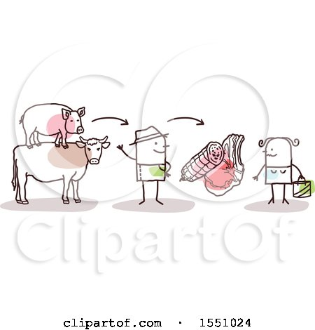 Clipart of a Stick Man Farmer Selling Pork and Beef Meat to a Consumer - Royalty Free Vector Illustration by NL shop