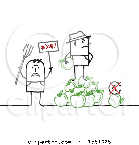 Clipart of Stick Man Farmers Protesting the Price of Apples - Royalty Free Vector Illustration by NL shop