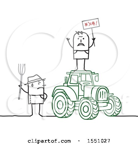 Clipart of Stick Man Farmers Protesting on and by a Tractor - Royalty Free Vector Illustration by NL shop