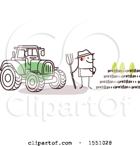 Clipart of a Stick Man Farmer Facing a Crop, Standing by a Tractor - Royalty Free Vector Illustration by NL shop
