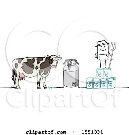Clipart of a Stick Man Farmer with a Cow, Milk Jug and Cartons - Royalty Free Vector Illustration by NL shop