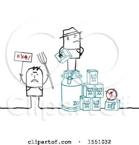Clipart of Stick Man Farmers Protesting the Low Cost of Milk - Royalty Free Vector Illustration by NL shop