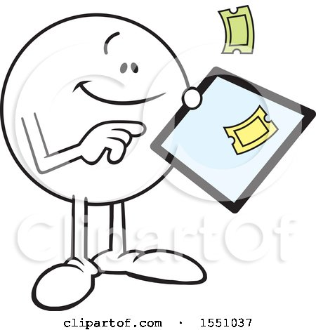 Clipart of a Moodie Character Ordering Tickets on a Tablet - Royalty Free Vector Illustration by Johnny Sajem