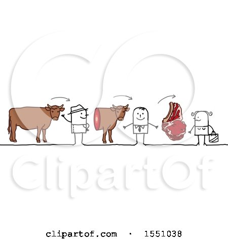 Clipart of a Stick Man Farmer Selling Beef to a Grocer and Steak to a Consumer - Royalty Free Vector Illustration by NL shop