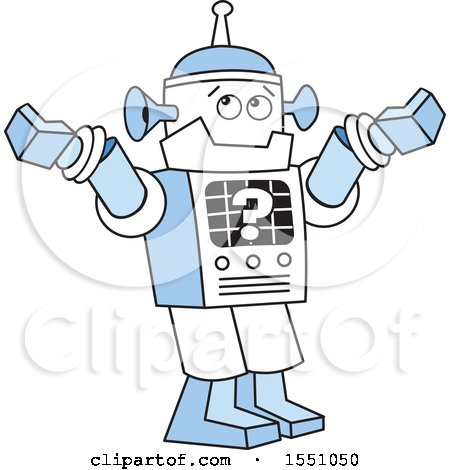 Clipart of a Robot with a Question Mark, Shrugging Its Shoulders - Royalty Free Vector Illustration by Johnny Sajem