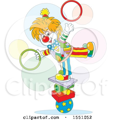 Clipart of a Cute Circus Clown Balancing and Juggling Rings - Royalty Free Vector Illustration by Alex Bannykh