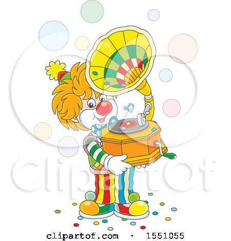 Clipart of a Cute Clown Holding a Phonograph and Playing Music - Royalty Free Vector Illustration by Alex Bannykh