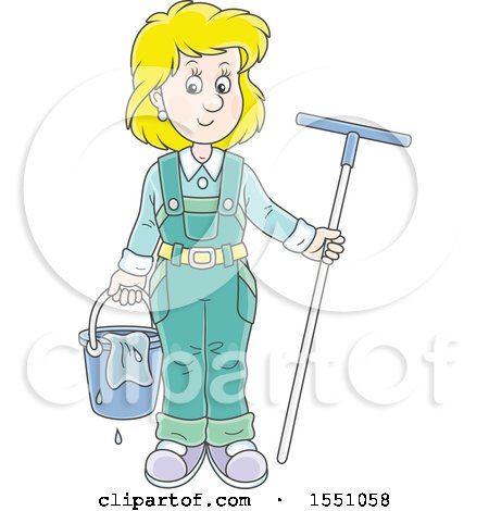 Clipart of a Happy Blond White Window Washer Woman Holding a Bucket and Squilgee - Royalty Free Vector Illustration by Alex Bannykh