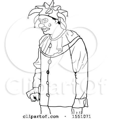 Clipart of a Black and White Jester Clown - Royalty Free Vector Illustration by dero