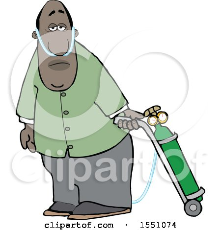 Clipart of a Cartoon Black Man on Oxygen Therapy - Royalty Free Vector Illustration by djart