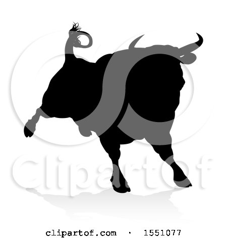 Clipart of a Silhouetted Black Bull, with a Shadow on a White Background - Royalty Free Vector Illustration by AtStockIllustration