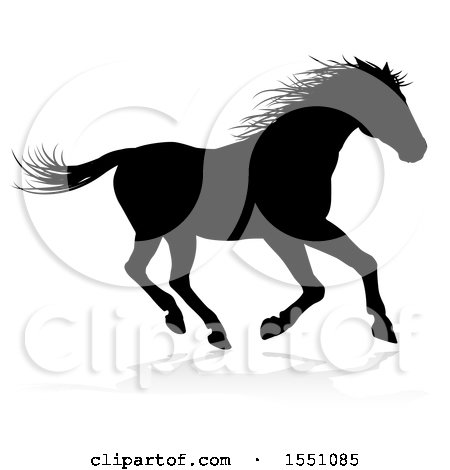 Clipart of a Silhouetted Horse, with a Reflection or Shadow - Royalty Free Vector Illustration by AtStockIllustration