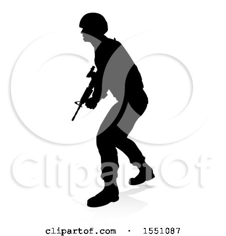 Clipart of a Silhouetted Male Armed Soldier, with a Reflection or Shadow, on a White Background - Royalty Free Vector Illustration by AtStockIllustration