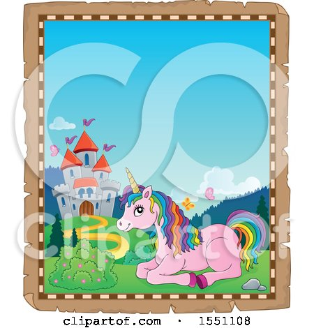 Clipart of a Parchment Border of a Castle and Resting Pink Unicorn with Colorful Hair - Royalty Free Vector Illustration by visekart