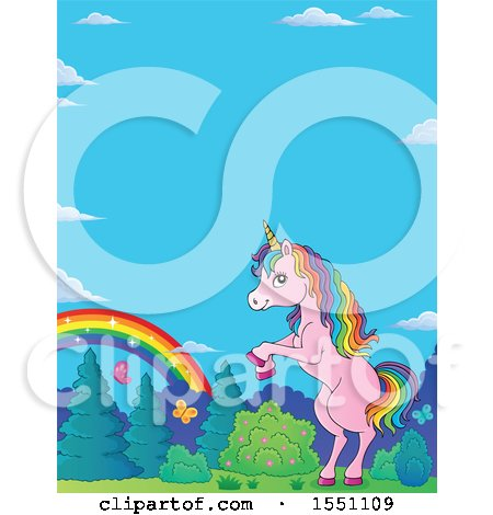 Clipart of a Rainbow and Rearing Pink Unicorn - Royalty Free Vector Illustration by visekart