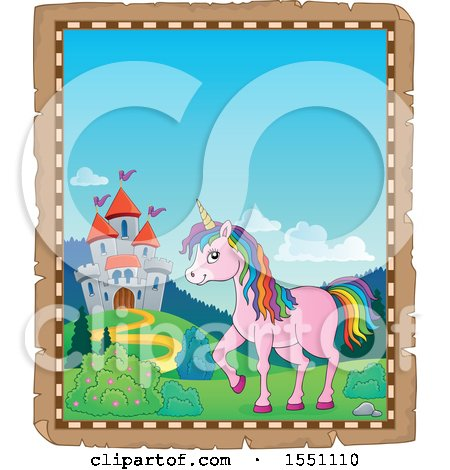 Clipart of a Parchment Border of a Castle and a Pink Unicorn with Colorful Hair - Royalty Free Vector Illustration by visekart