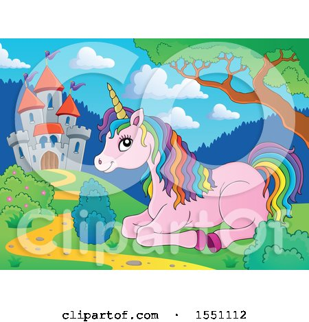 Clipart of a Castle and Resting Pink Unicorn with Colorful Hair - Royalty Free Vector Illustration by visekart