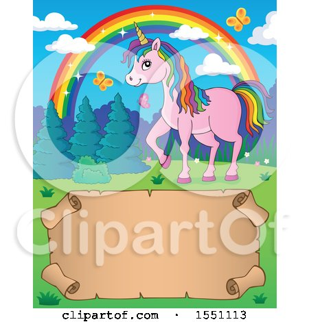 Clipart of a Unicorn, Rainbow and Parchment Scroll - Royalty Free Vector Illustration by visekart