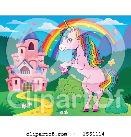 Clipart of a Rainbow, Castle and Rearing Pink Unicorn - Royalty Free Vector Illustration by visekart