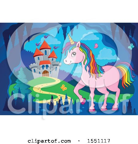 Clipart of a Castle and a Pink Unicorn with Colorful Hair - Royalty Free Vector Illustration by visekart