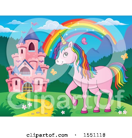 Clipart of a Rainbow, Castle and a Pink Unicorn with Colorful Hair - Royalty Free Vector Illustration by visekart