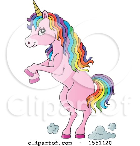 Clipart of a Rearing Pink Unicorn - Royalty Free Vector Illustration by visekart