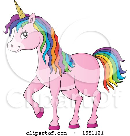 Clipart of a Pink Unicorn with Colorful Hair - Royalty Free Vector Illustration by visekart
