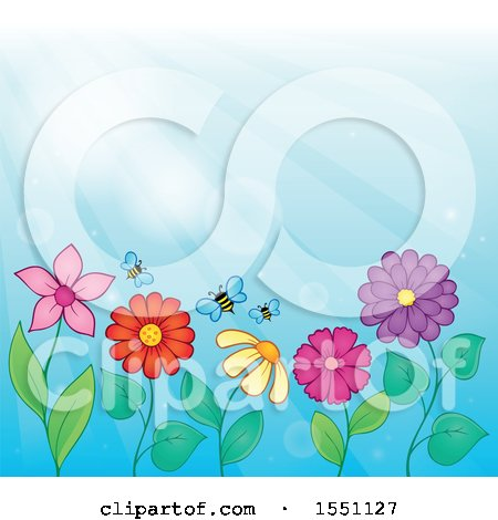 Clipart of a Garden with Bees and Flowers Against a Blue Sky - Royalty Free Vector Illustration by visekart