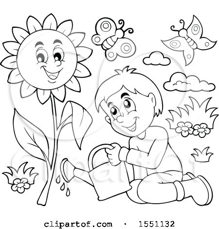 Clipart of a Lineart Boy Watering a Sunflower - Royalty Free Vector Illustration by visekart