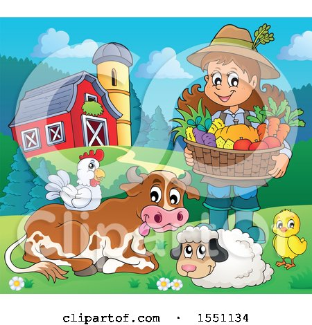 Farmer Girl Holding a Basket of Produce by Animals Posters, Art Prints