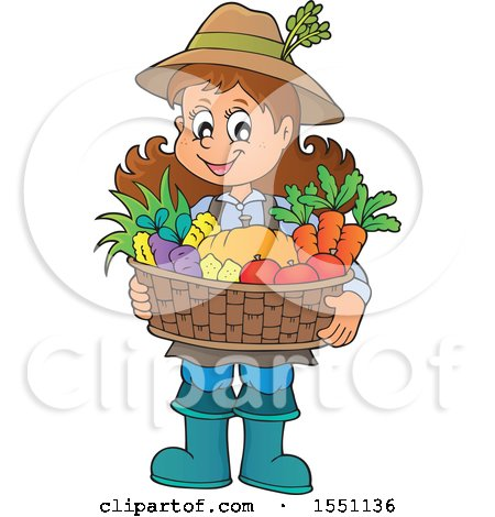 Clipart of a Farmer Girl Holding a Basket of Produce - Royalty Free Vector Illustration by visekart