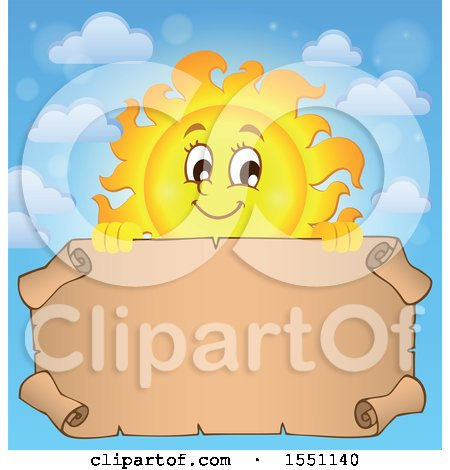 Clipart of a Happy Sun with a Parchment Scroll - Royalty Free Vector Illustration by visekart