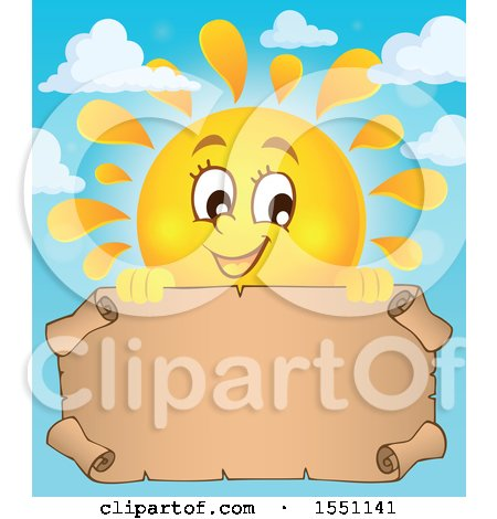 Clipart of a Happy Summer Sun with a Parchment Scroll - Royalty Free Vector Illustration by visekart
