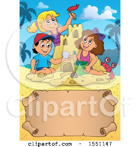 Clipart of a Group of Happy Children Making a Sand Castle on a Beach, with a Scroll - Royalty Free Vector Illustration by visekart