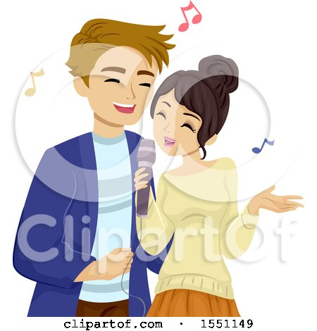 Clipart of a Teenage Couple Singing Karaoke - Royalty Free Vector Illustration by BNP Design Studio