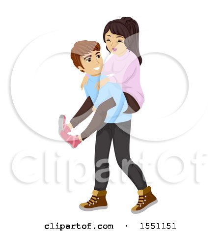 Clipart of a Teen Boy Giving His Girlfriend a Piggy Back Ride - Royalty Free Vector Illustration by BNP Design Studio