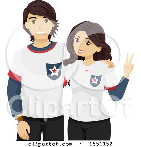 Clipart of a Teenage Couple Wearing Matching Outfits - Royalty Free Vector Illustration by BNP Design Studio