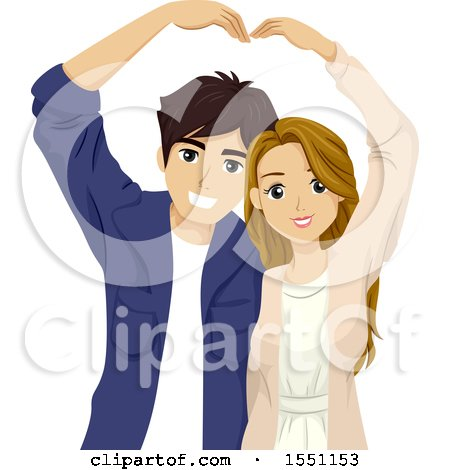 Clipart of a Teenage Couple Forming a Heart with Their Arms - Royalty Free Vector Illustration by BNP Design Studio